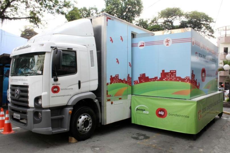 Carreta itinerante do projeto Boa Energia nas Escolas traz atividades sobre o uso eficiente e seguro da energia elétrica