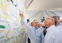O secretário de Logística e Transportes Laurence Casagrande Lourenço e o governador Geraldo Alckmin. Foto: Gilberto Marques/A2img